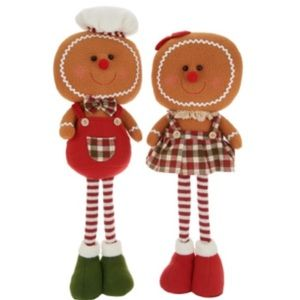 "Holiday - 🆕 Set of (2) 21"" Plush Gingerbread Characters"